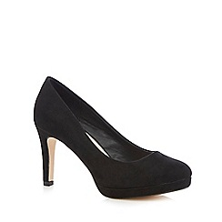 Red Herring - Black suedette high wide fit court shoes