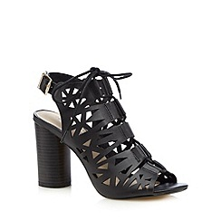 Red Herring - Black cutout lace up high sandals