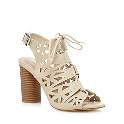 Red Herring - Cream cutout lace up high sandals