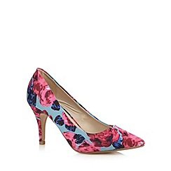 Red Herring - Blue rose print pointed wide fit high court shoes