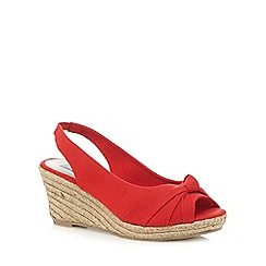 The Collection - Red bow mid heel wedge sandals