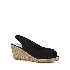 The Collection - Black bow mid heel wedge sandals