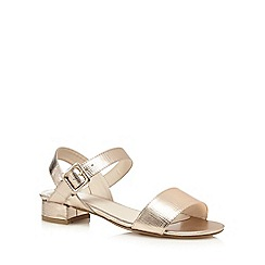 The Collection - Gold croc effect low sandals
