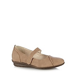 Good for the Sole - Taupe 'Mary Jane' wide fit shoes