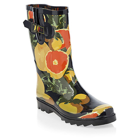 H! by Henry Holland - Navy grapefruit print wellington boots