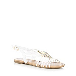Red Herring - White diamante flat sandals