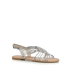 Red Herring - Grey snakeskin-effect diamante flat sandals