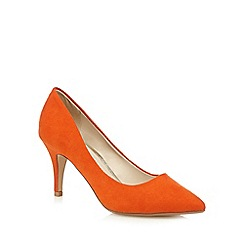 Red Herring - Orange suedette pointed high court shoes