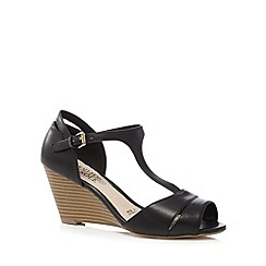 Good for the Sole - Black T-bar wedge wide fit sandals