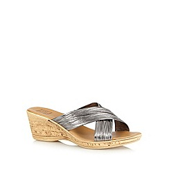 The Collection - Metallic mid wedge sandals