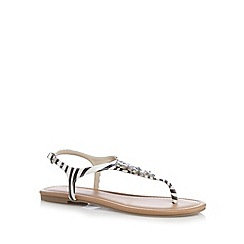 Red Herring - Black and white jewel embellished flat sandals