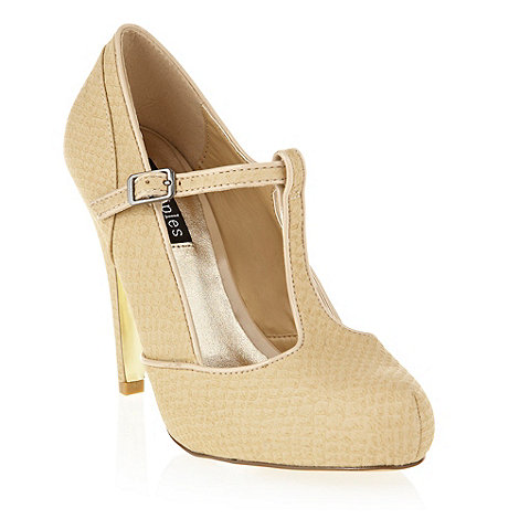 Principles by Ben de Lisi - Beige snakeskin t-bar courts