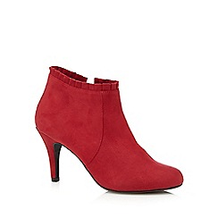 The Collection - Red frill cuff high heeled ankle boots