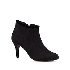 The Collection - Black suedette frilled high heeled ankle boots