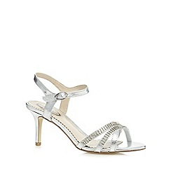 Debut - Silver metallic embellished mid heeled sandals