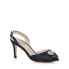 Debut - Navy satin heeled court shoes