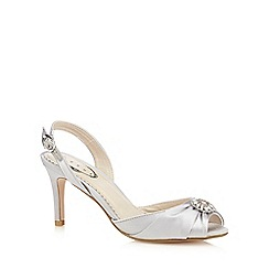 Debut - Silver satin heeled sling-back shoes