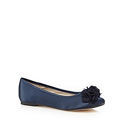 Debut - Navy rose applique slip-on shoes