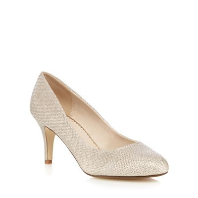 debut gold glittered high stiletto heel court shoes