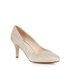 Debut - Gold glittered high stiletto heel court shoes