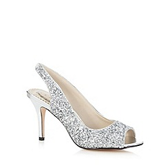 Debut - Silver glittery peep toe heeled court shoes