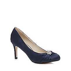 Debut - Navy diamante trim mid heeled court shoes