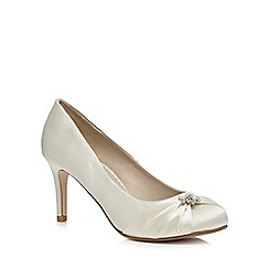 Debut - Ivory diamante trim mid heeled court shoes