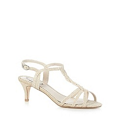 Debut - Gold glittery mid heeled sandals