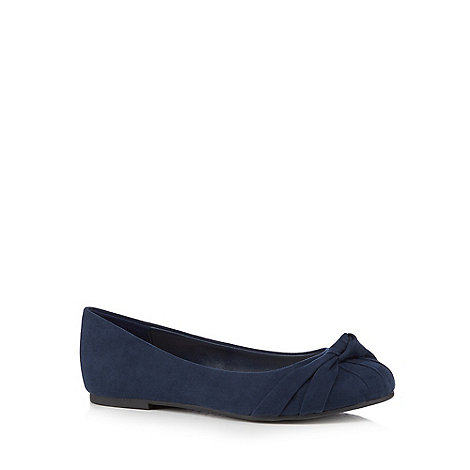 Good for the Sole - Navy knot detailed wide fit flat shoes