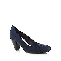 Good for the Sole - Navy buckle detail wide fit court shoes