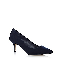 The Collection - Navy textured pointed court shoes