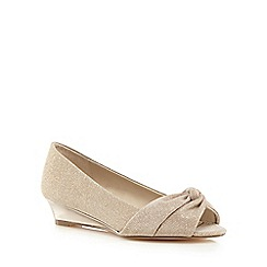 Debut - Rose gold glittery knot peep toe low wedge shoes