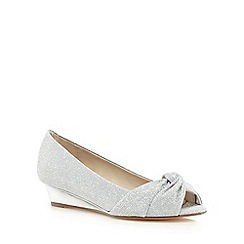Debut - Silver glittery knot peep toe low wedge shoes