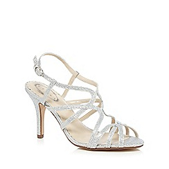 Debut - Silver diamante wide fit high heel sandals