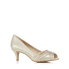 Debut - Gold glitter strap mid heel shoes