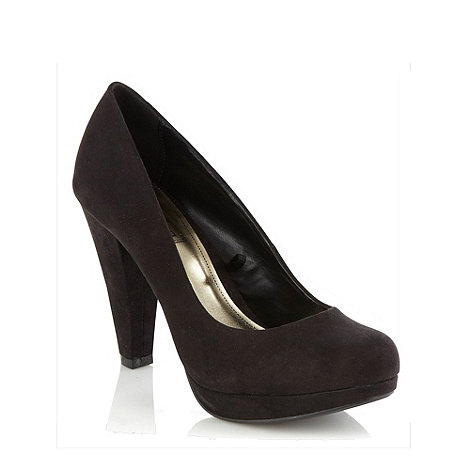 Red Herring - Black high heel suedette court shoes
