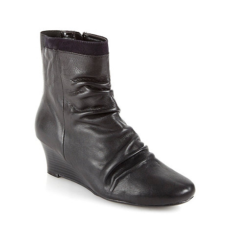 Good for the Sole - Black wide fit leather mid wedge ankle boots