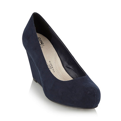 Collection Good for the Sole - Navy wide fit wedge heel shoes