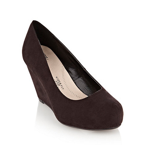 Good for the Sole - Black wide fit platform wedge court shoes