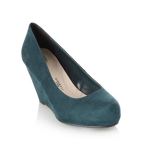 Good for the Sole - Bottle Green Wider Fit Wedge Heel Shoes