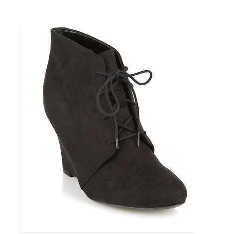 Good for the Sole - Black wide fit suedette high wedge heel ankle boots