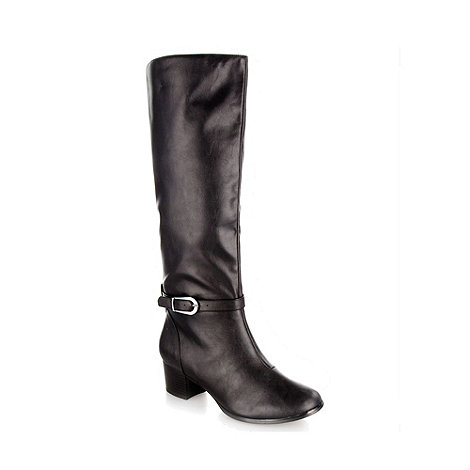 The Collection - Black wider fit essential high leg boots