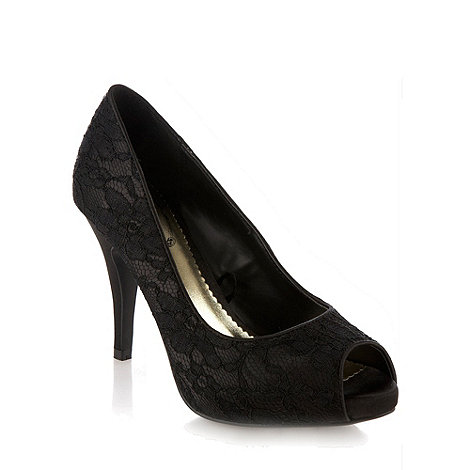 Debut - Black high heeled lace peep toe court shoes