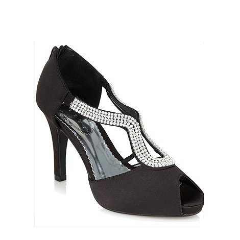 Debut - Black high heel diamante sandals