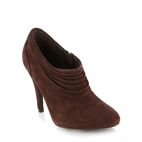 J by Jasper Conran - Chocolate high heel ruched shoe boots