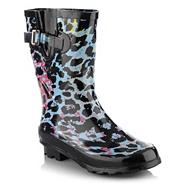 Light blue animal print wellington boots