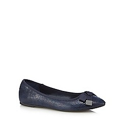 Red Herring - Navy texture snakeskin-effect bow applique flat slip-on shoes
