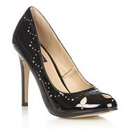 Black high heel 'eva' cutout patent court shoes