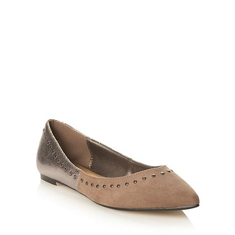 Red Herring - Taupe suedette studded pointed toe pumps