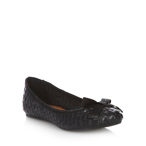 Betty Jackson.Black - Black woven leather pumps with bow trim